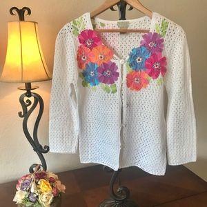 Sigrid Olsen Unique Floral Applique Sweater